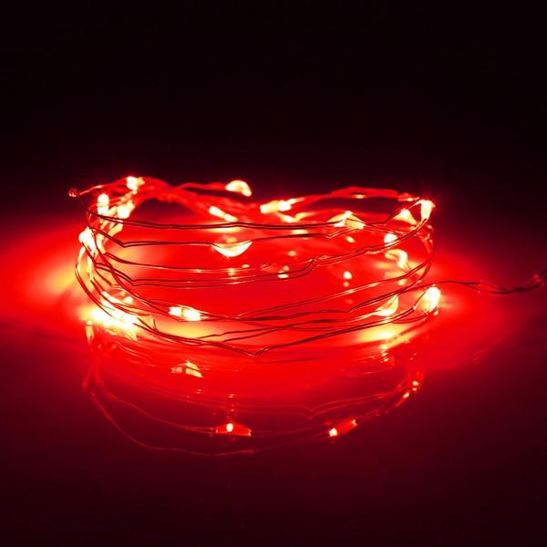 7.5 FT|20 LED Battery Operated Red Fairy String Lights With Silver Wire