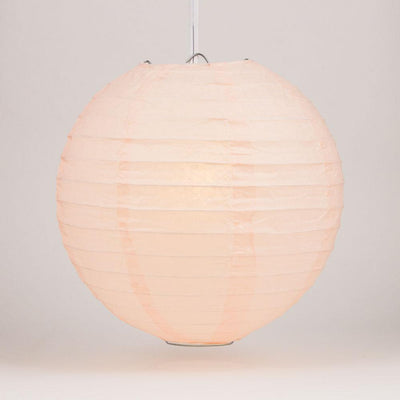"24"" Rose Quartz Pink Round Paper Lantern, Even Ribbing, Chinese Hanging Decoration for Weddings and Parties"