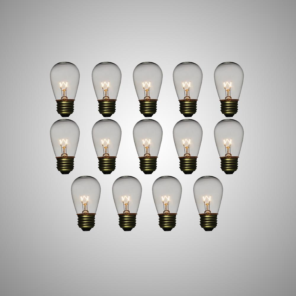 Clear 11-Watt Incandescent S14 Sign Replacement Light Bulbs, E26 Medium Base (14 PACK) - AsianImportStore.com - B2B Wholesale Lighting and Decor