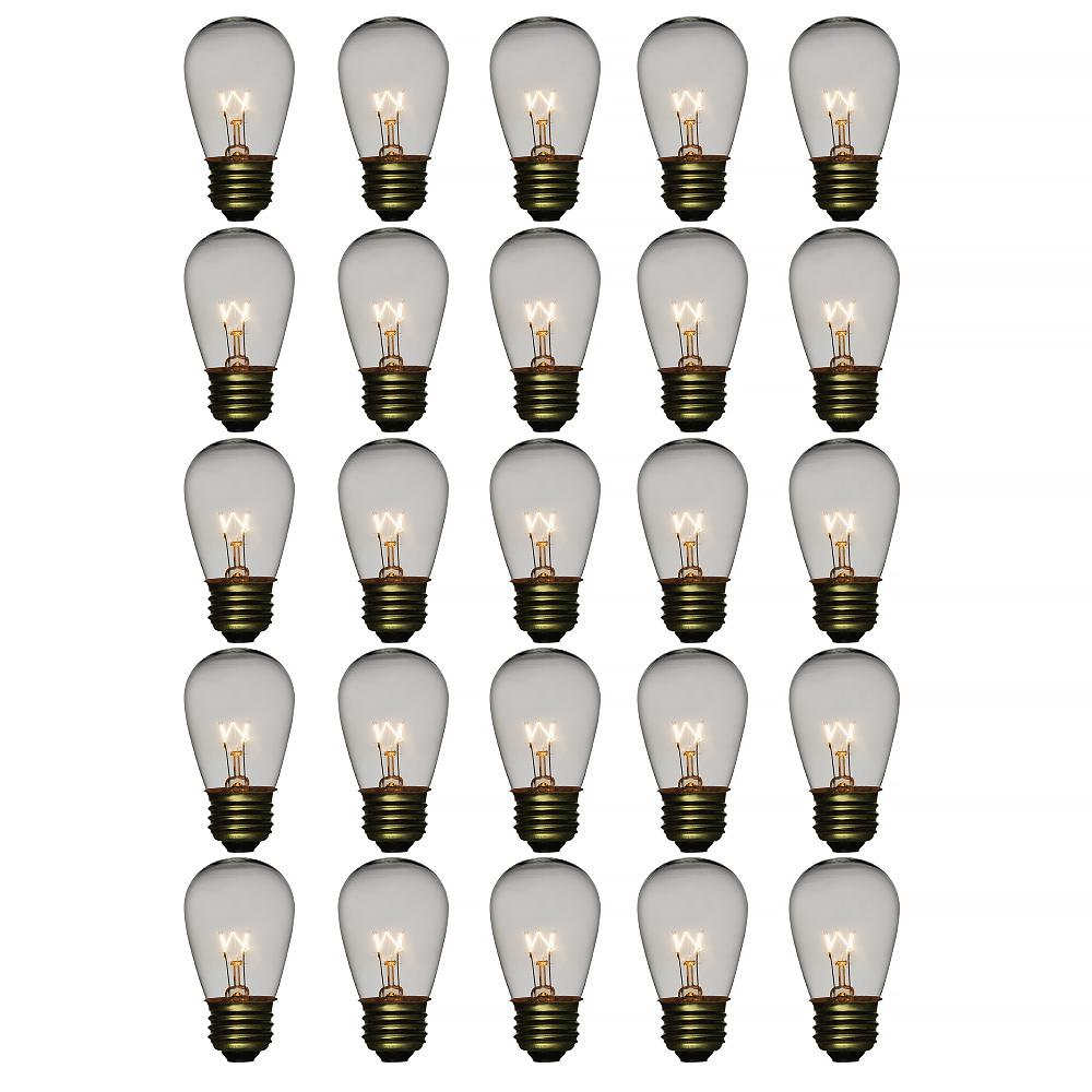 Clear 11-Watt Incandescent S14 Sign Replacement Light Bulbs, E26 Medium Base (28 PACK) - AsianImportStore.com - B2B Wholesale Lighting and Decor