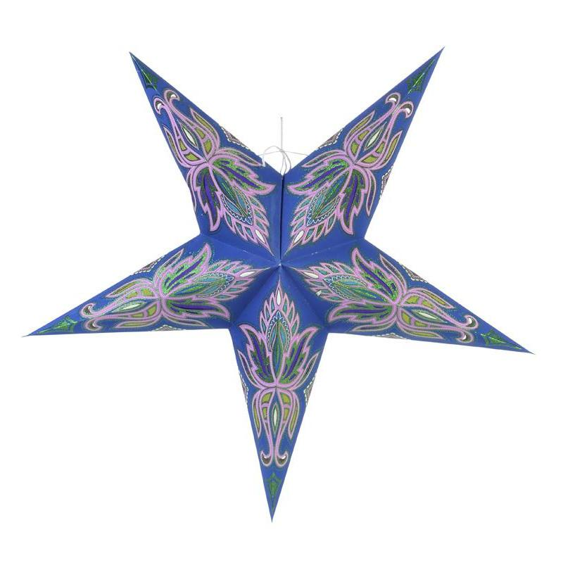 "24"" Blue / Pink Lotus Green Glitter Paper Star Lantern, Chinese Hanging Wedding & Party Decoration - AsianImportStore.com - B2B Wholesale Lighting and Decor"