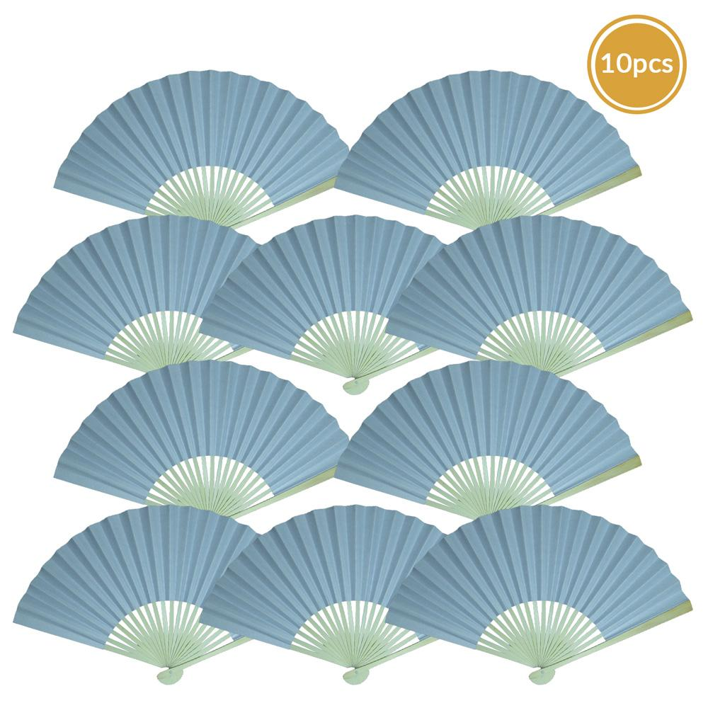 "9"" Serenity Blue Paper Hand Fans for Weddings, Premium Paper Stock (10 Pack)"