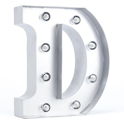 Silver Marquee Light Letter 'D' LED Metal Sign (8 Inch, Battery Operated w/ Timer) - AsianImportStore.com - B2B Wholesale Lighting and Decor