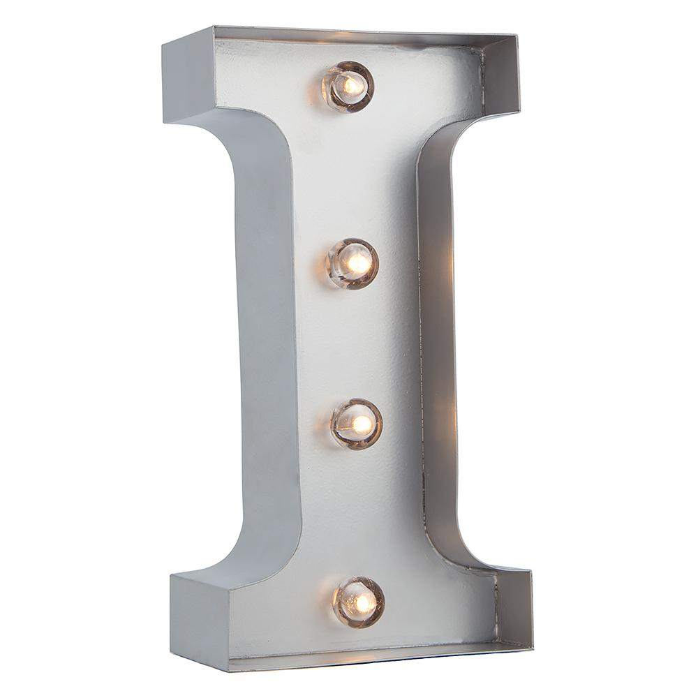 BLOWOUT Silver Marquee Light Letter 'I' LED Metal Sign (8 Inch, Battery Operated w/ Timer)