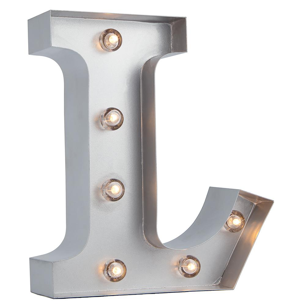 BLOWOUT Silver Marquee Light Letter 'L' LED Metal Sign (8 Inch, Battery Operated w/ Timer)