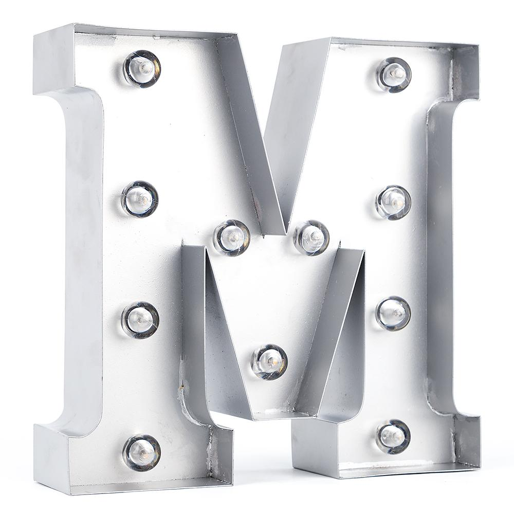 BLOWOUT Silver Marquee Light Letter 'M' LED Metal Sign (8 Inch, Battery Operated w/ Timer)