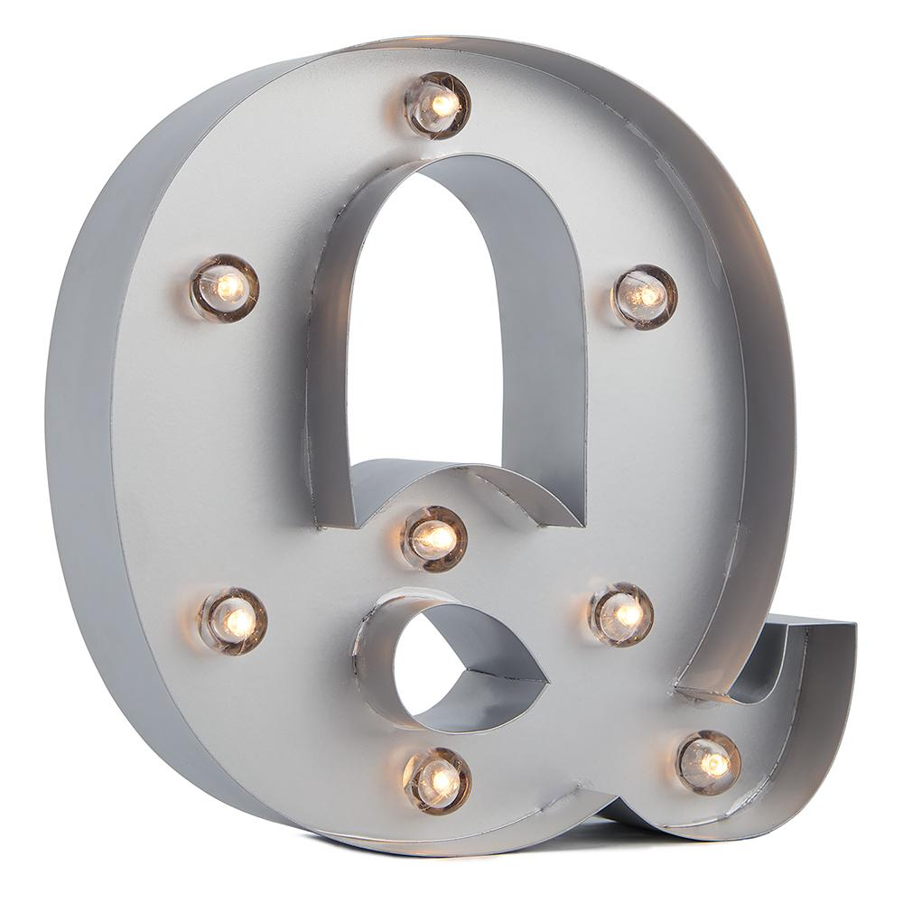 BLOWOUT Silver Marquee Light Letter 'Q' LED Metal Sign (8 Inch, Battery Operated w/ Timer)