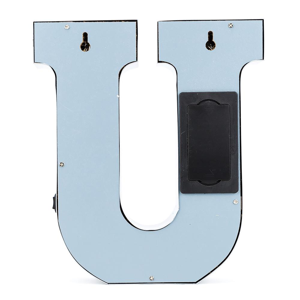 BLOWOUT Silver Marquee Light Letter 'U' LED Metal Sign (8 Inch, Battery Operated w/ Timer)