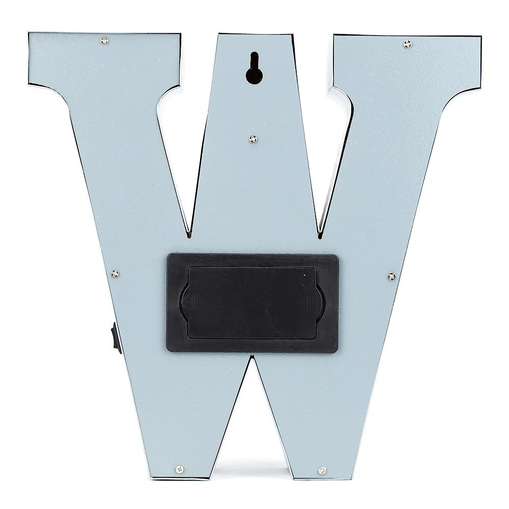 BLOWOUT Silver Marquee Light Letter 'W' LED Metal Sign (8 Inch, Battery Operated w/ Timer)