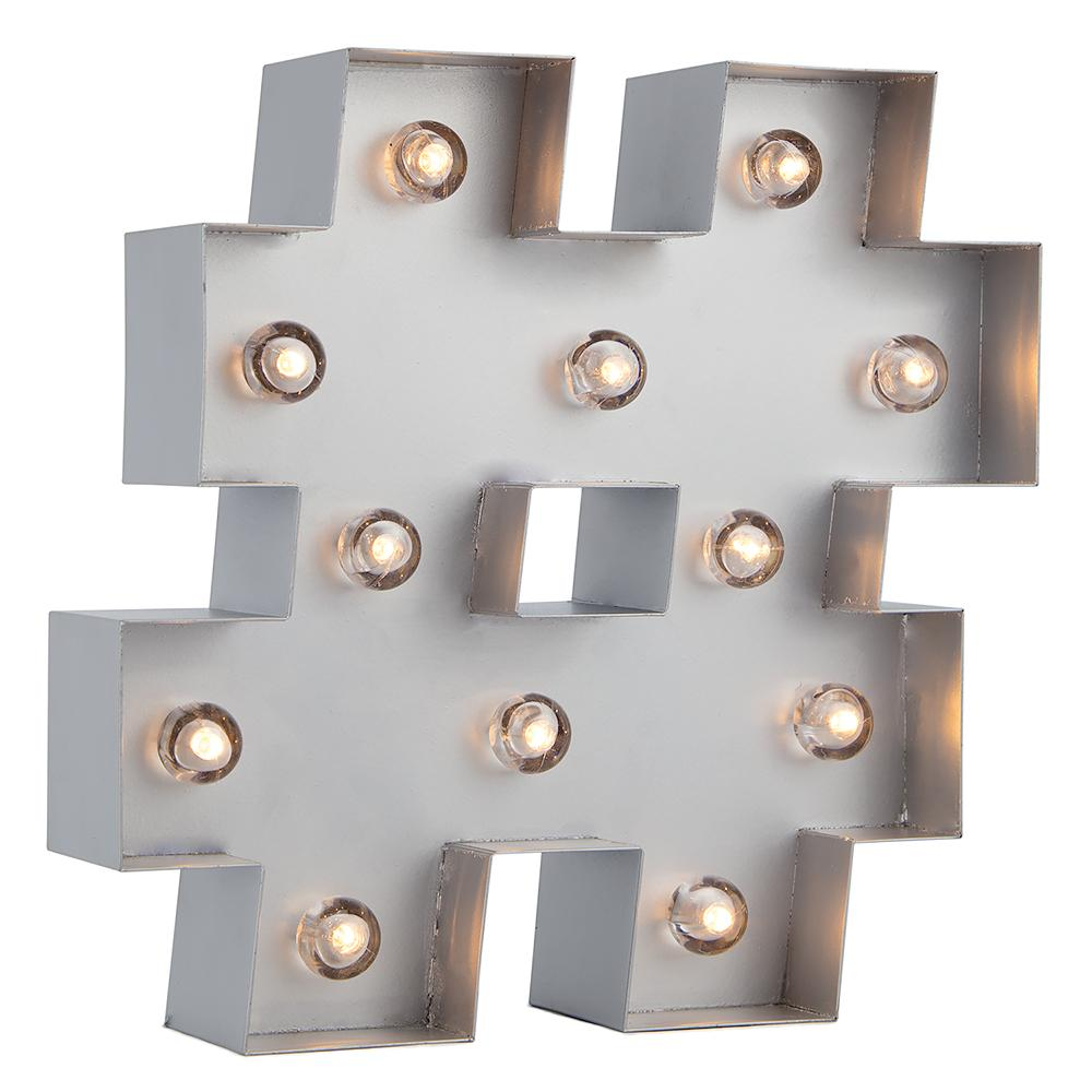 BLOWOUT Silver Marquee Light Symbol '#' Hashtag / Pound LED Metal Sign (Battery Operated w/ Timer)
