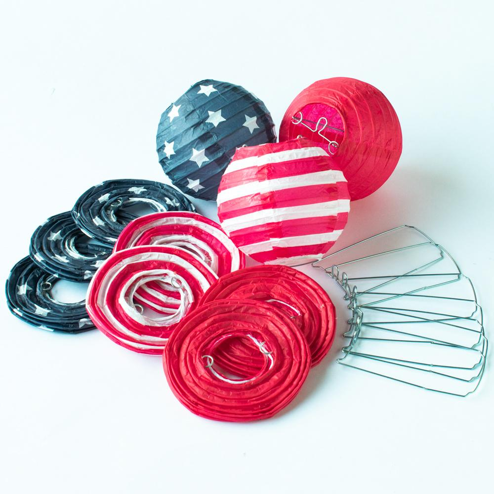 "4"" 4th of July Red, White and Blue Round Paper Lantern, Even Ribbing, Hanging Decoration (10 PACK)"