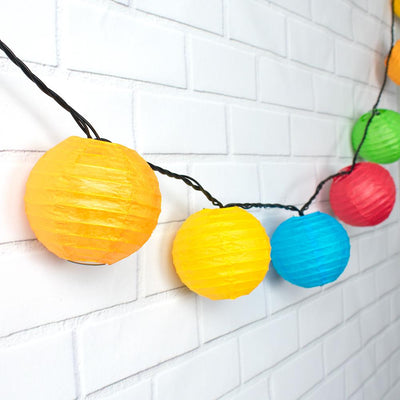 "4"" Multi-Color Round Paper Lantern, Even Ribbing, Hanging Decoration (10 PACK)"