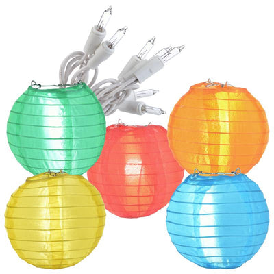 4 Inch Multi-Color Round Shimmering Nylon Lanterns, Even Ribbing, Hanging (10-PACK) Decoration