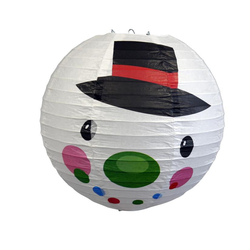 "14"" Frosty Snowman Christmas Holiday Paper Lantern"