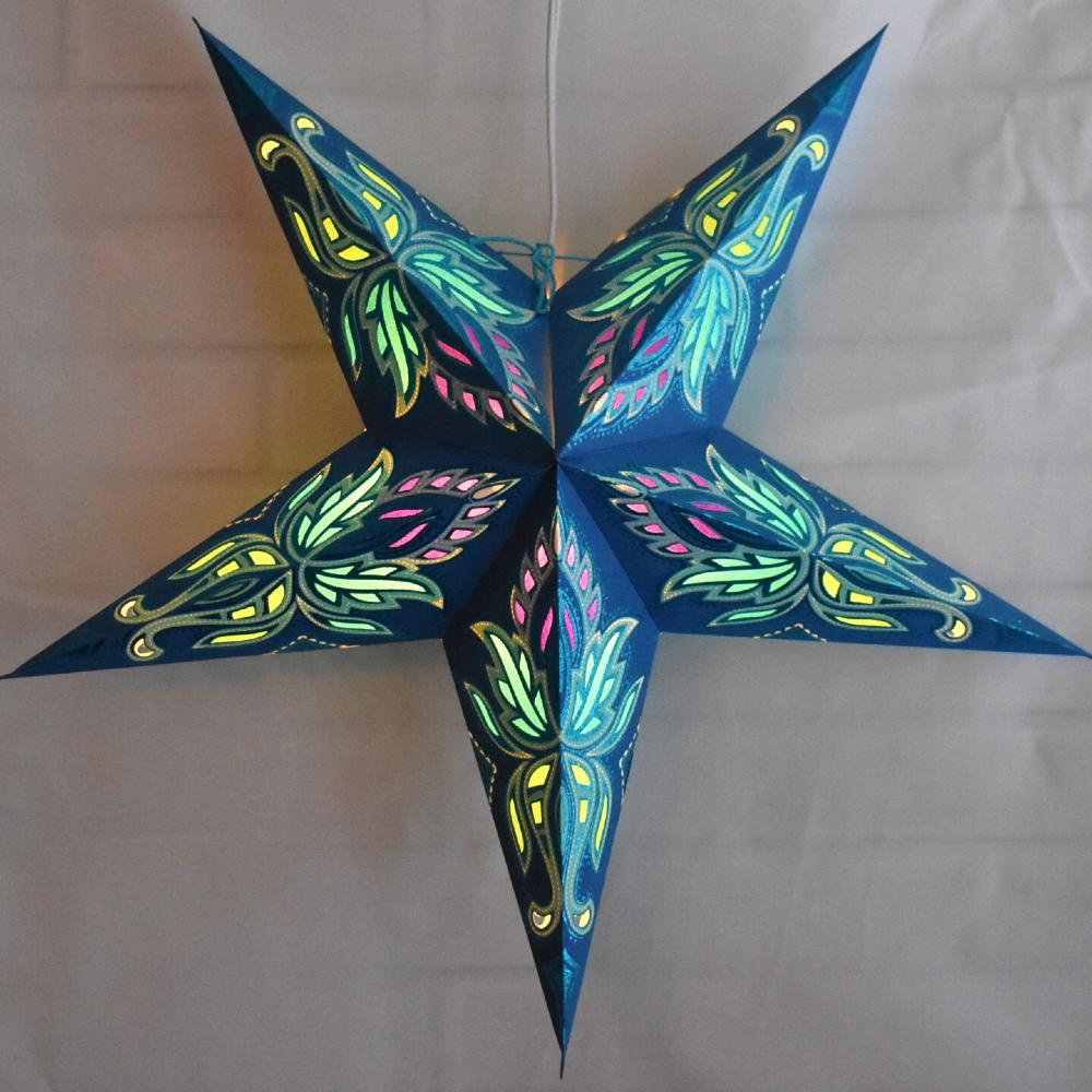 "24"" Blue / Turquoise Lotus Glitter Paper Star Lantern, Hanging - AsianImportStore.com - B2B Wholesale Lighting and Decor"