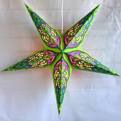 "24"" Green / Purple Meditation Glitter Paper Star Lantern, Hanging"