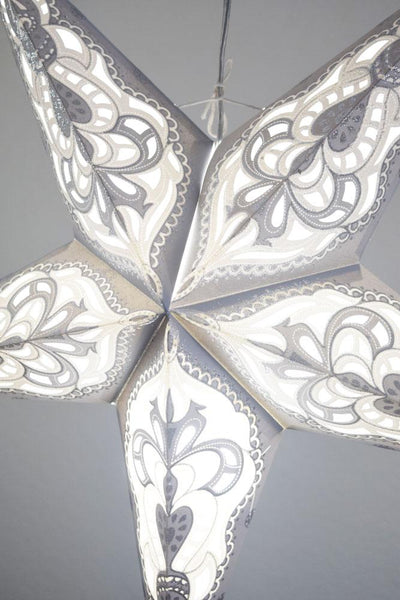"24"" Grey / White Meditation Glitter Paper Star Lantern, Hanging"