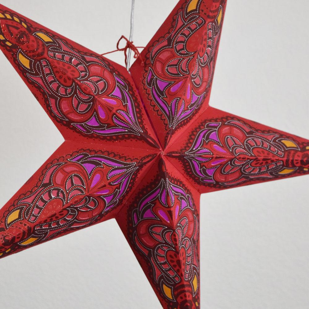 "BLOWOUT 24"" Red Meditation Glitter Paper Star Lantern, Hanging"