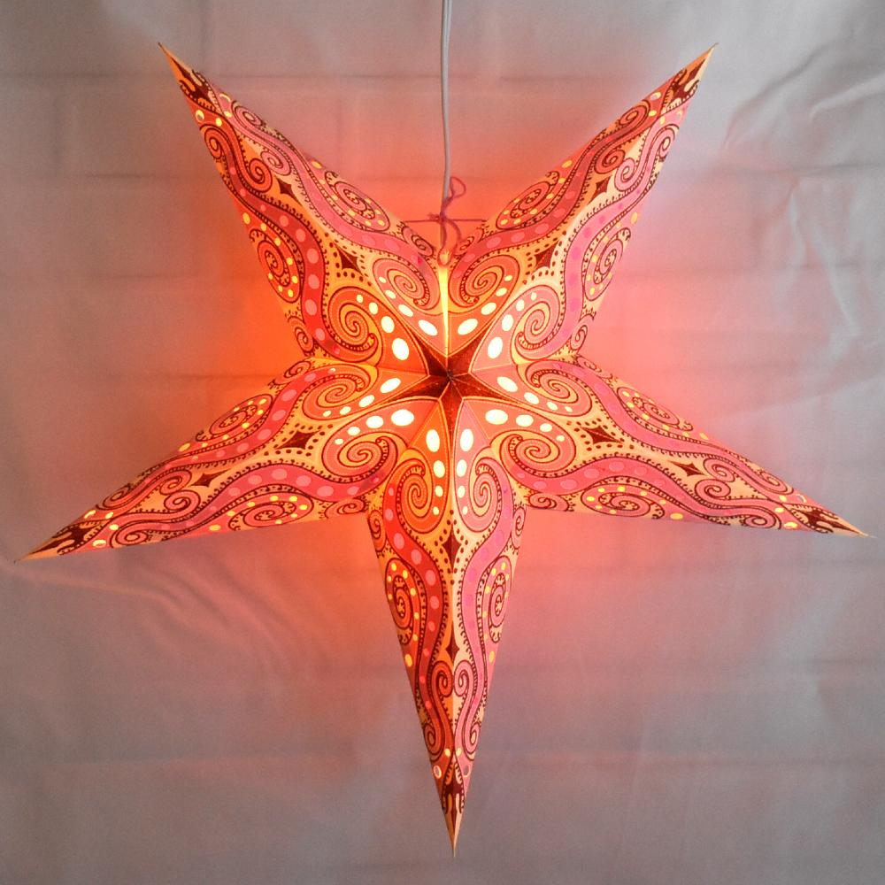 "24"" Vanilla Pink / Red Mouri Glitter Paper Star Lantern, Hanging - AsianImportStore.com - B2B Wholesale Lighting and Decor"