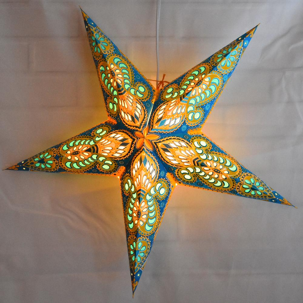 "24"" Turquoise / Yellow Peacock Glitter Paper Star Lantern, Hanging Decoration - AsianImportStore.com - B2B Wholesale Lighting and Decor"