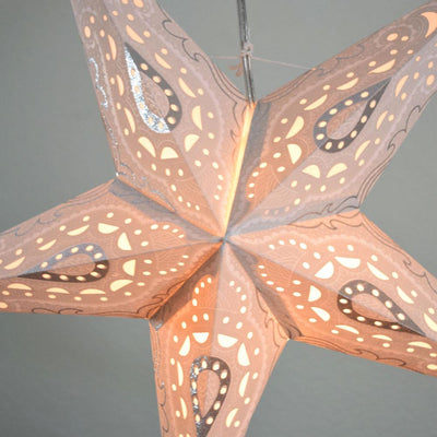 "BLOWOUT 24"" White / Grey Shikhara Glitter Paper Star Lantern, Hanging"
