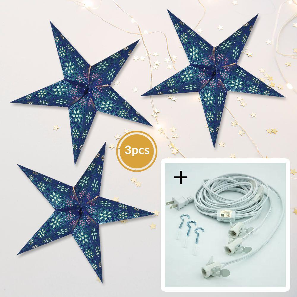 "3-PACK + Cord | Dark Blue Winds Glitter 24"" Illuminated Paper Star Lanterns and Lamp Cord Hanging Decorations"