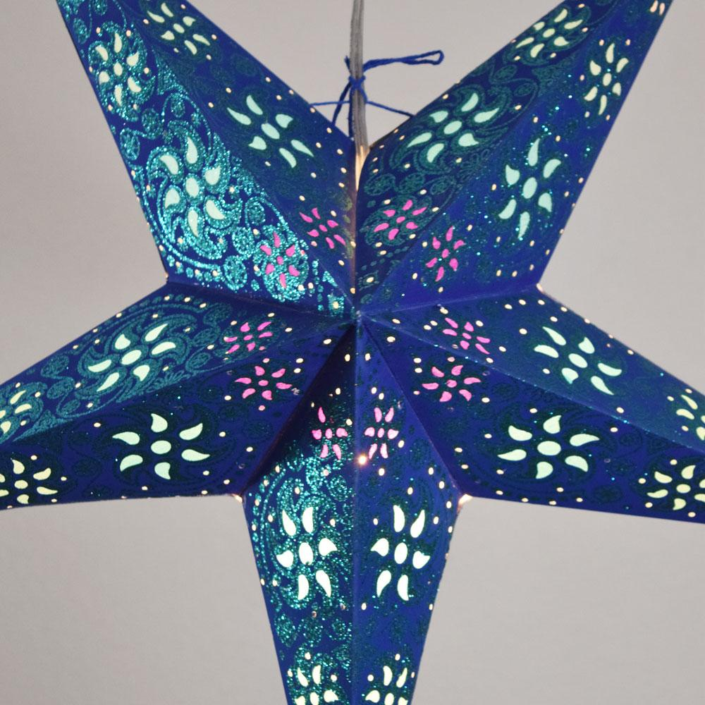 "24"" Dark Blue / Green Winds Glitter Paper Star Lantern, Hanging - AsianImportStore.com - B2B Wholesale Lighting and Decor"