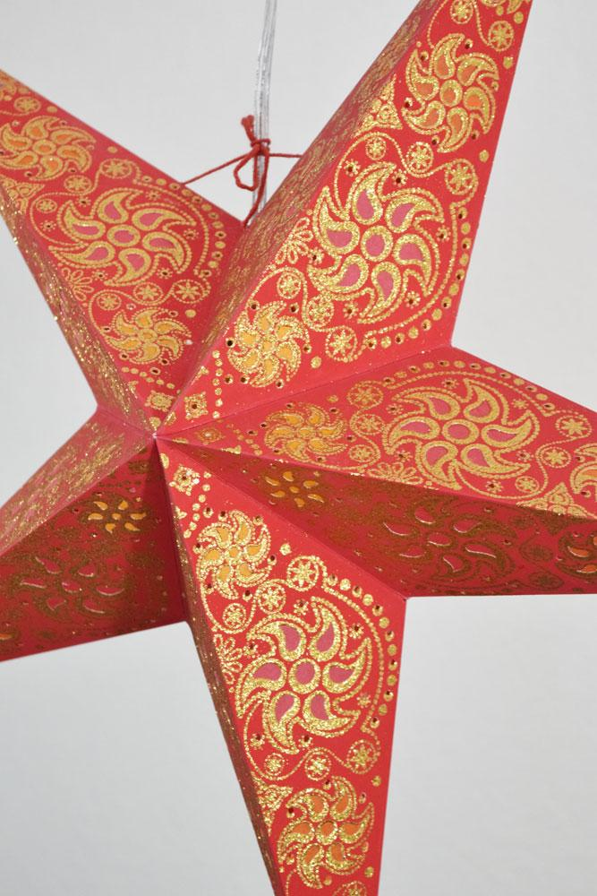 "BLOWOUT 24"" Red Winds Gold Glitter Paper Star Lantern, Hanging"