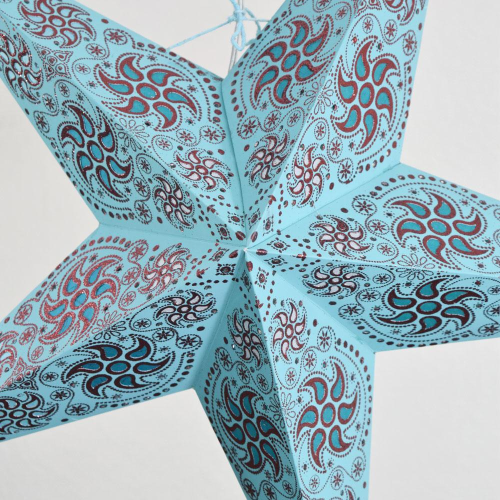 "24"" Turquoise Blue Winds Red Glitter Paper Star Lantern, Hanging - AsianImportStore.com - B2B Wholesale Lighting and Decor"