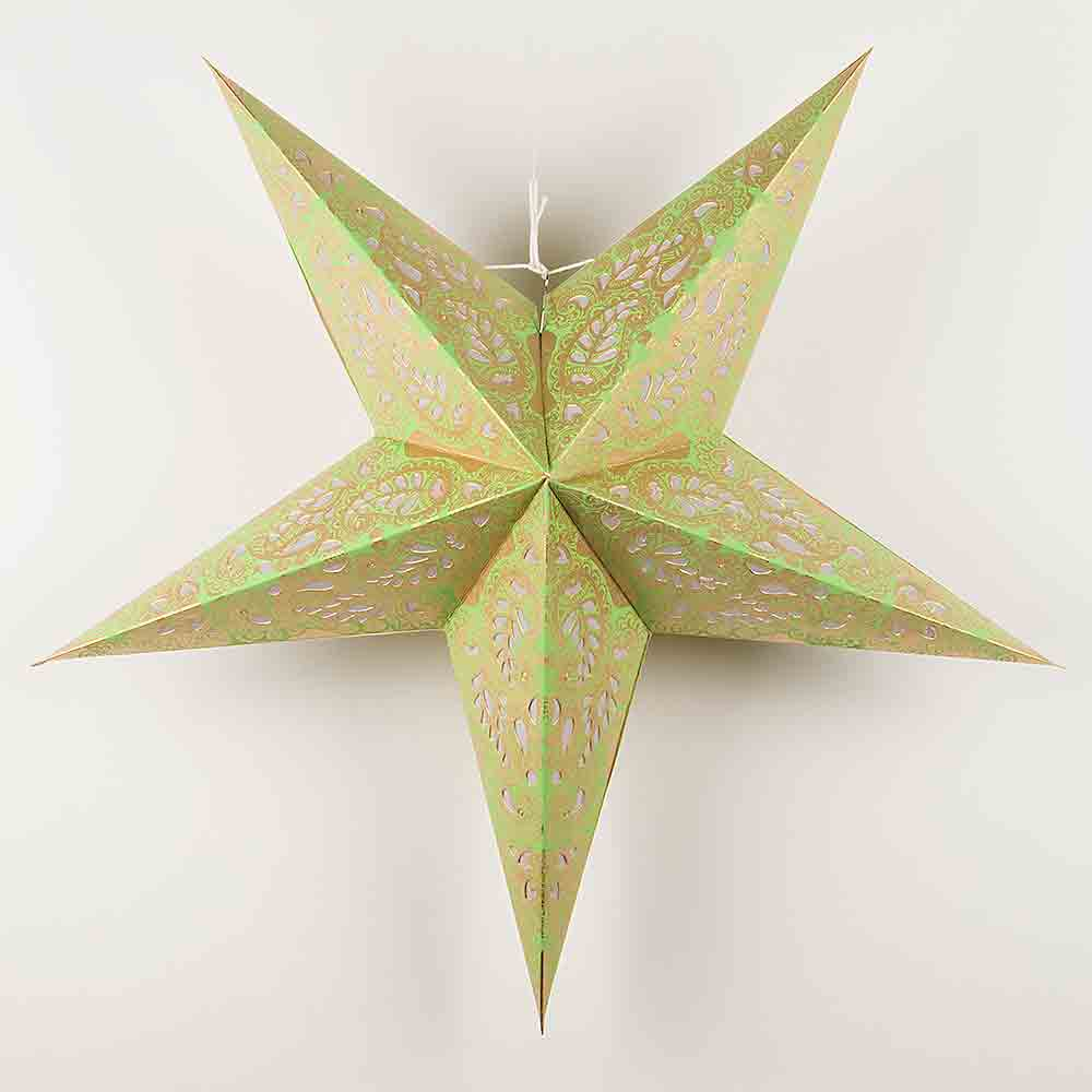 "(Discontinued) 24"" Gold and Lime Green Paisley Paper Star Lantern, Hanging"