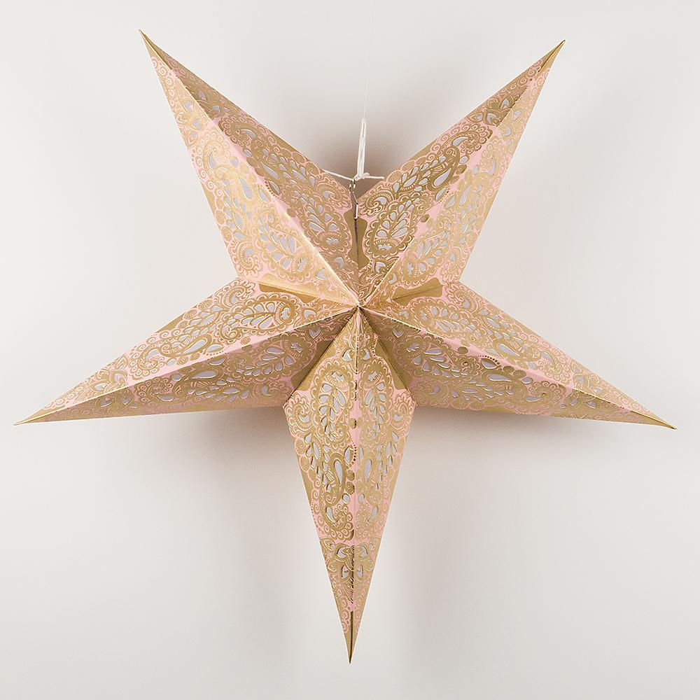 "24"" Gold and Pink Paisley Paper Star Lantern, Hanging"