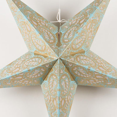 "24"" Gold and Turquoise Paisley Paper Star Lantern, Hanging"