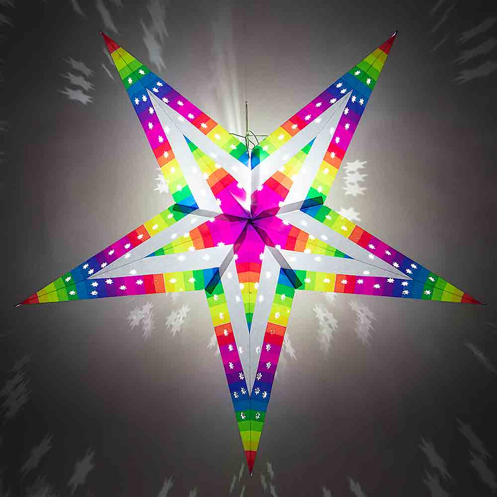 "30"" Large Rainbow Strip Paper Star Lantern, Hanging - AsianImportStore.com - B2B Wholesale Lighting and Decor"