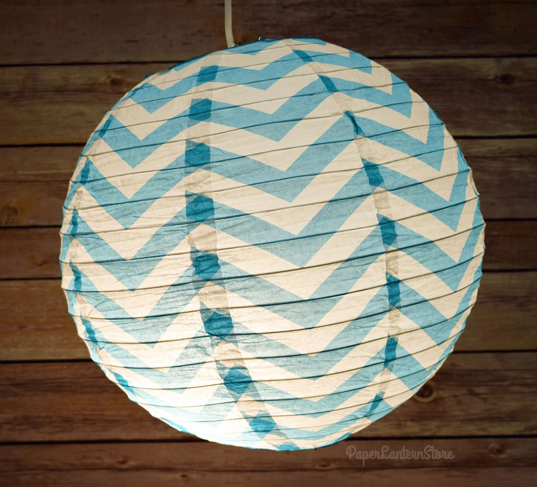 "14"" Turquoise Chevron Paper Lantern, Even Ribbing, Hanging - AsianImportStore.com - B2B Wholesale Lighting and Decor"