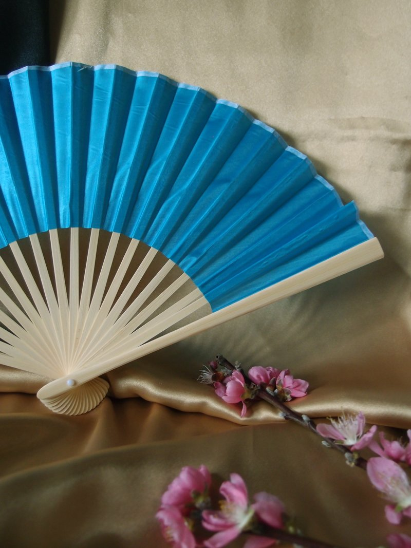"9"" Turquoise Silk Hand Fans for Weddings (10 Pack) - AsianImportStore.com - B2B Wholesale Lighting and Decor"