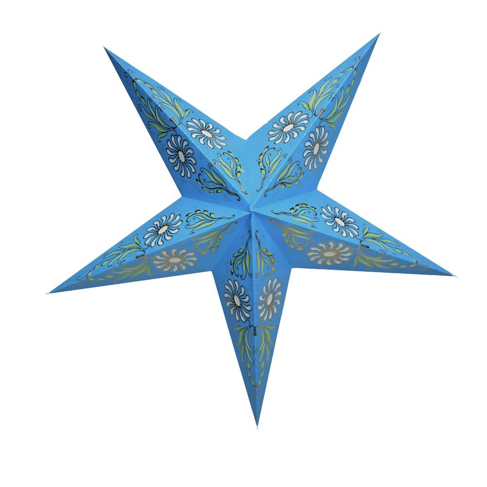 "BLOWOUT 24"" Golden Daisy Turquoise Blue Paper Star Lantern, Chinese Hanging Wedding & Party Decoration"