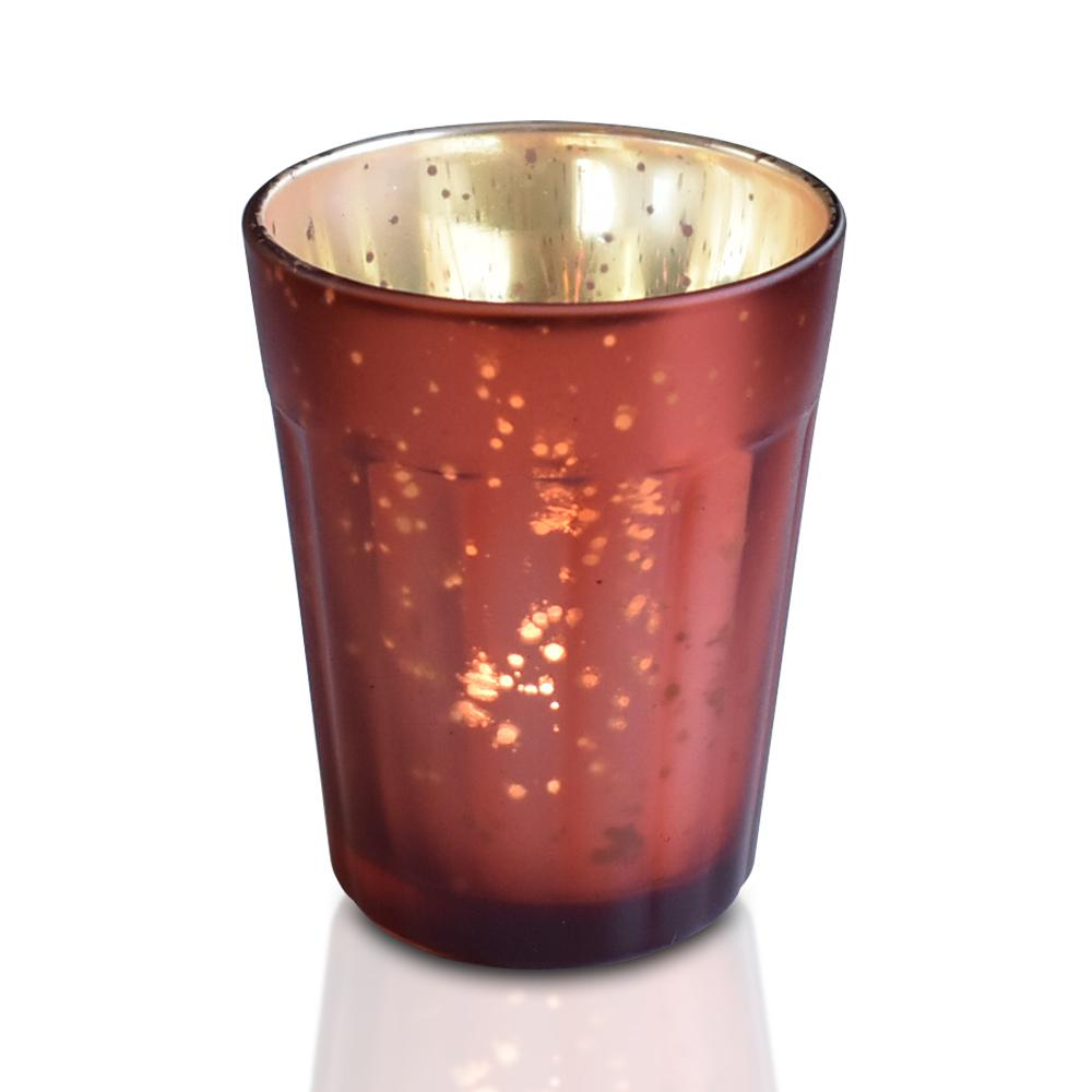 Vintage Mercury Glass Candle Holder (3.25-Inch, Katelyn Design, Column Motif, Rustic Copper Red) - For Use with Tea Lights - For Home Decor, Parties and Wedding Decorations (20 PACK) - AsianImportStore.com - B2B Wholesale Lighting and Décor