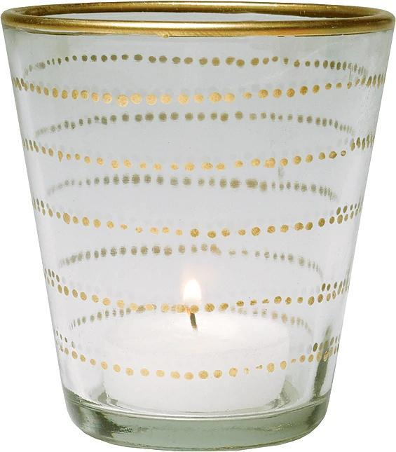 Gilded Horizontal Accent Glass Candle Holder (3.5-Inch, Vanessa Design, Clear) - Use with Tea Lights - Home Decor, Parties, and Wedding Decorations (20 PACK) - AsianImportStore.com - B2B Wholesale Lighting and Décor
