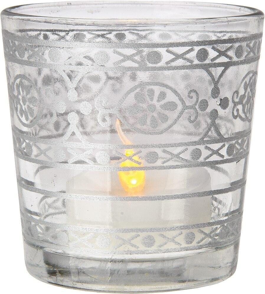 Glass Candle Holder (2.5-Inch, Elisa Design, Clear, Mehndi Silver Accents) - For Use with Tea Lights - For Home Decor, Parties and Wedding Decorations (20 PACK) - AsianImportStore.com - B2B Wholesale Lighting and Décor