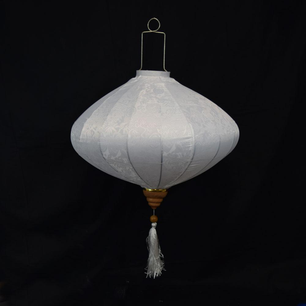 Large White Vietnamese Silk Lantern, Diamond Shaped