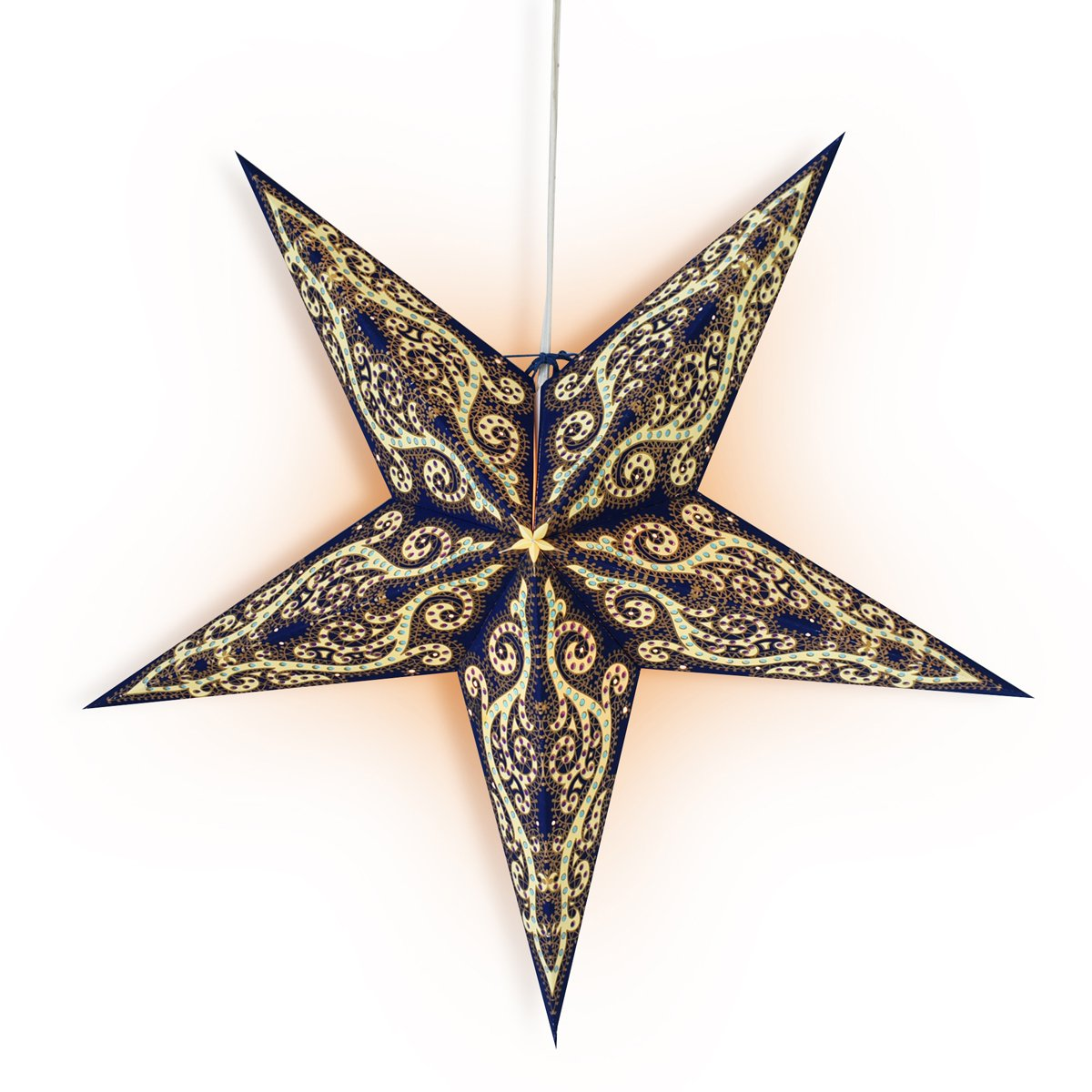 "24"" Blue Vines Glitter Paper Star Lantern, Hanging Wedding & Party Decoration - AsianImportStore.com - B2B Wholesale Lighting and Decor"