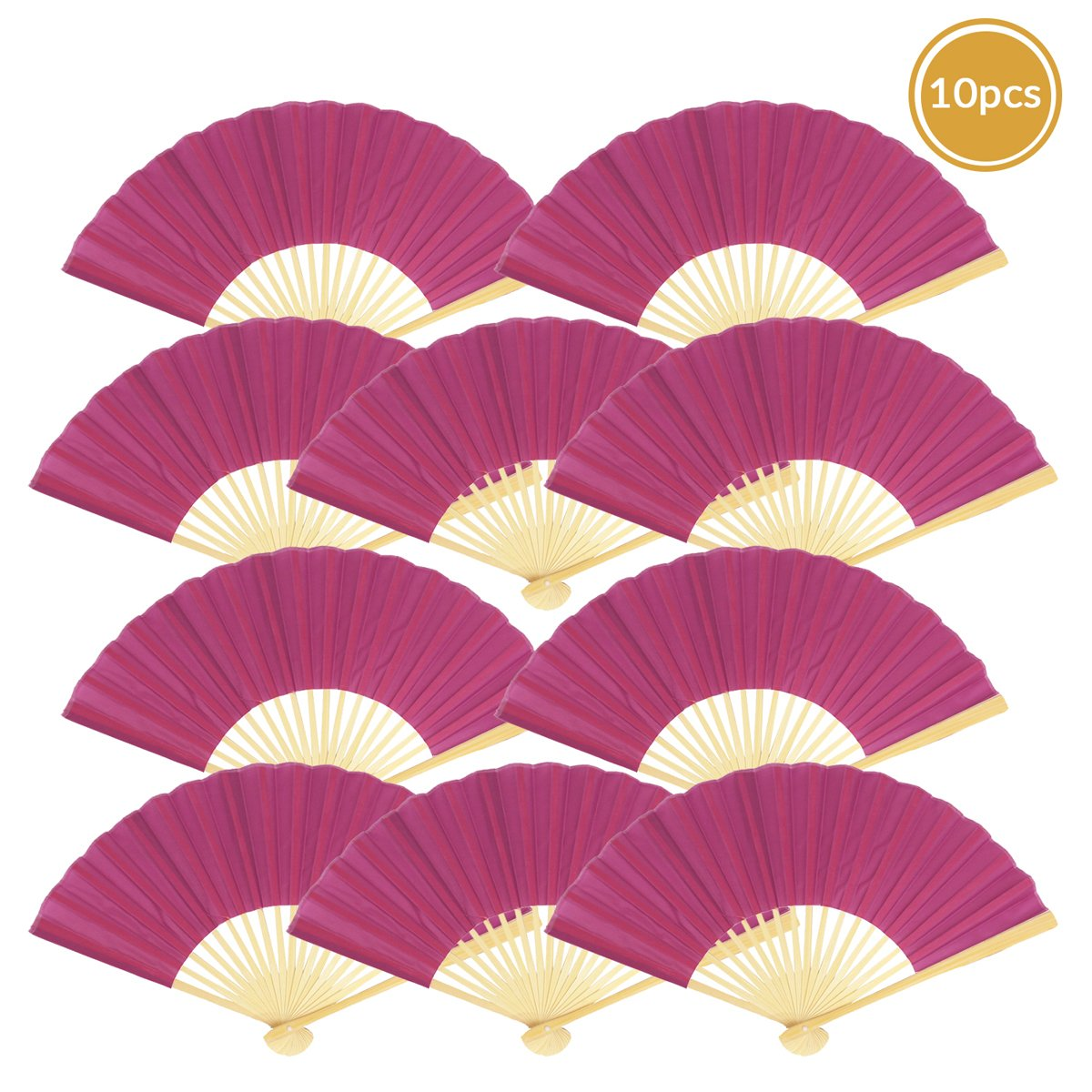 "9"" Violet Silk Hand Fans for Weddings (10 Pack) - AsianImportStore.com - B2B Wholesale Lighting and Decor"