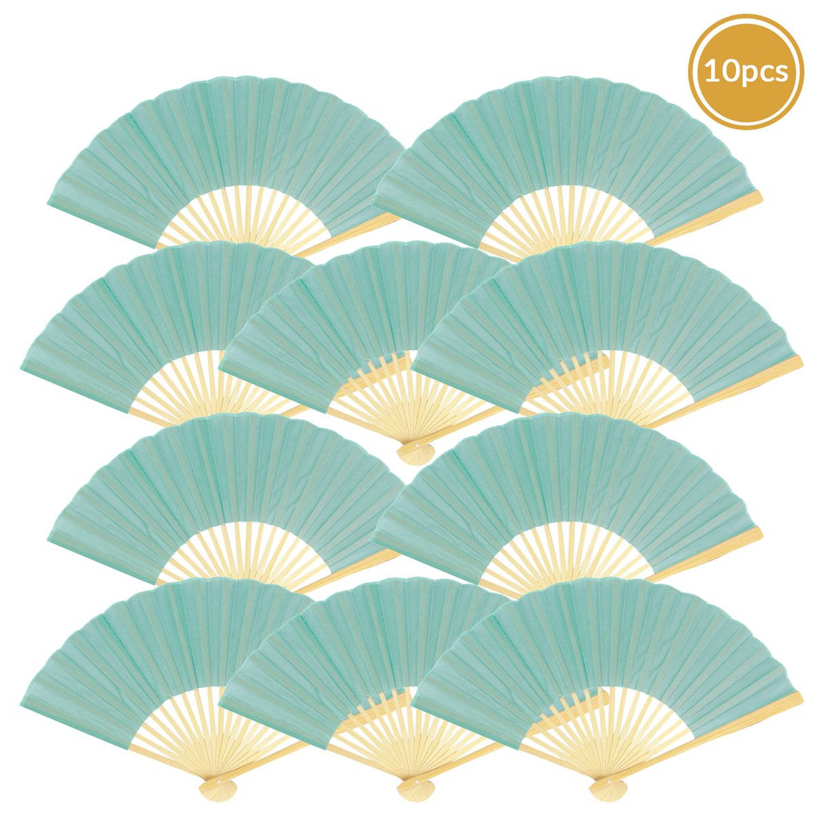 "9"" Water Blue Silk Hand Fans for Weddings (10 Pack)"