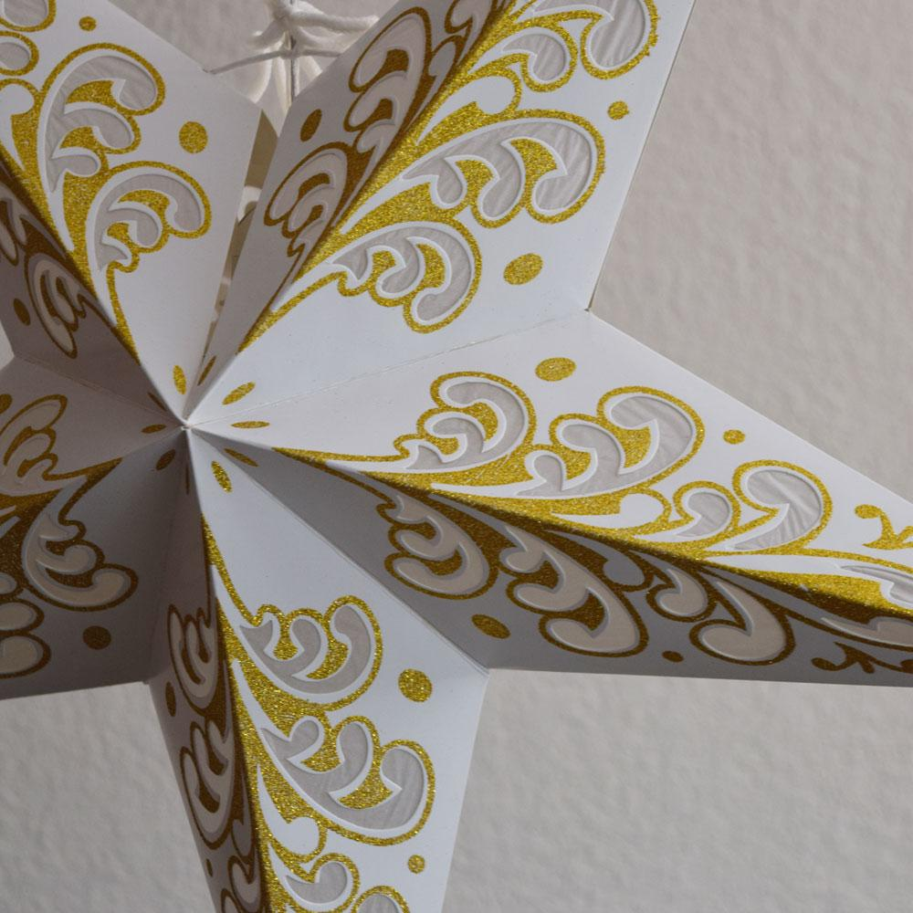 "24"" Gold Wave Glitter Paper Star Lantern, Hanging - AsianImportStore.com - B2B Wholesale Lighting and Decor"
