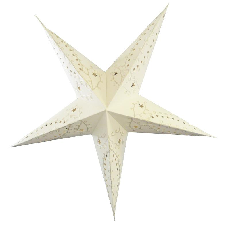 "24"" White Embroidery Paper Star Lantern, Chinese Hanging Wedding & Party Decoration"