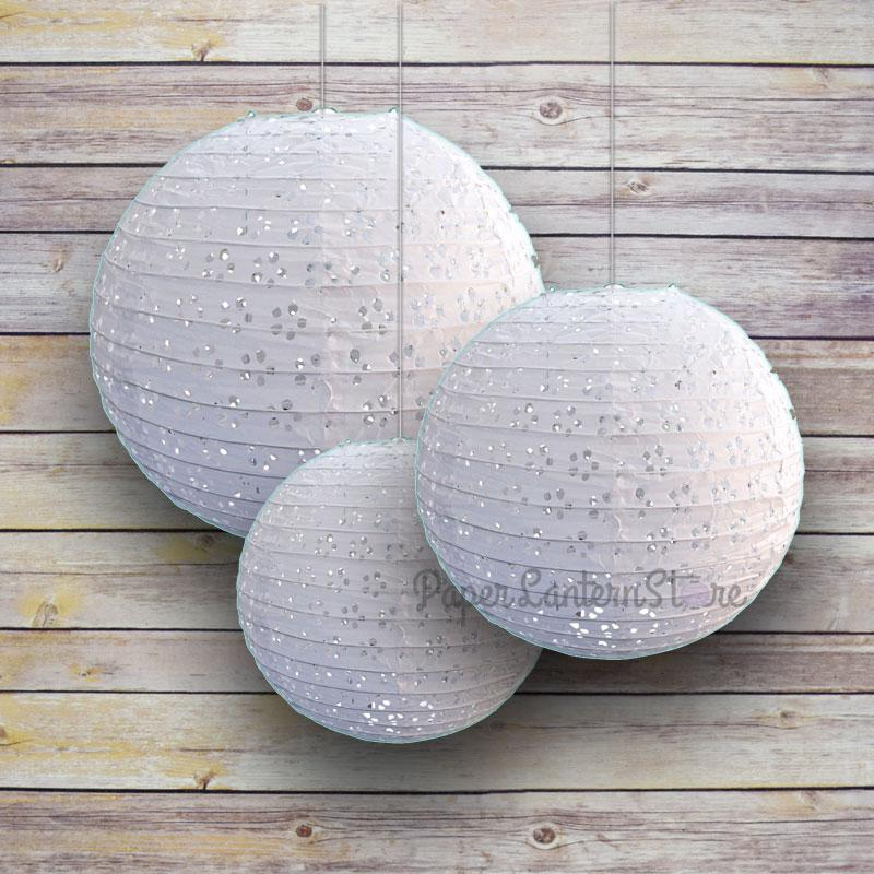 "6/8/10"" White Eyelet Lace Look Round Paper Lanterns, Even Ribbing (3-Pack Cluster)"