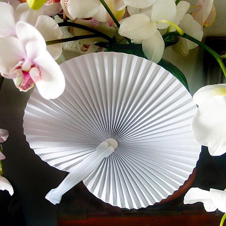 "9"" White Accordion Paper Hand Fan for Weddings (10 Pack)"