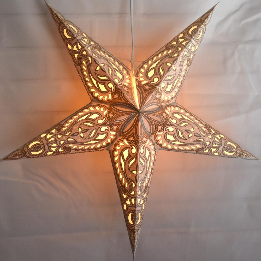 "24"" White Alaskan Gold Glitter Paper Star Lantern, Hanging Decoration"
