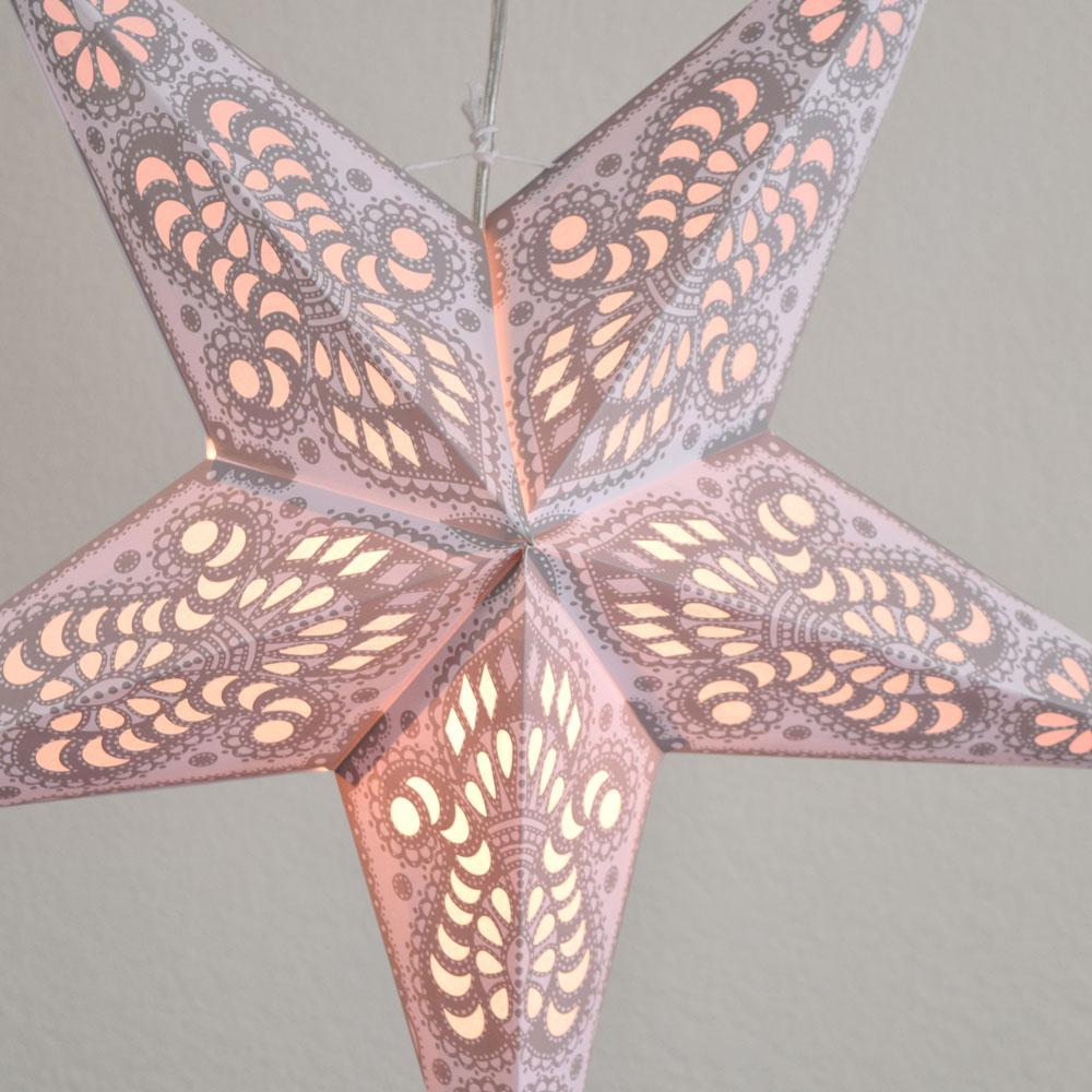 "24"" White Grey Peacock Paper Star Lantern, Hanging"