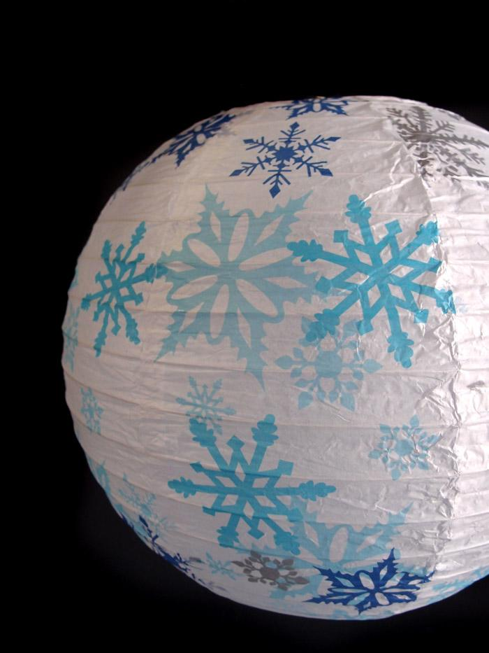 "14"" White Snowflake Christmas Holiday Paper Lantern"